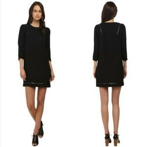 The Kooples Studded Faux Leather Trim Shift Dress